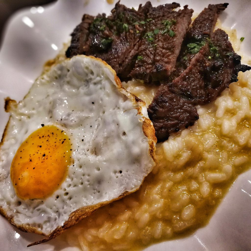 TAPRILOG by Pyro Davao - Beef Tapa, Garlic Risotto topped with a Sunny Side Egg. Breakfast food for lunch or dinner!