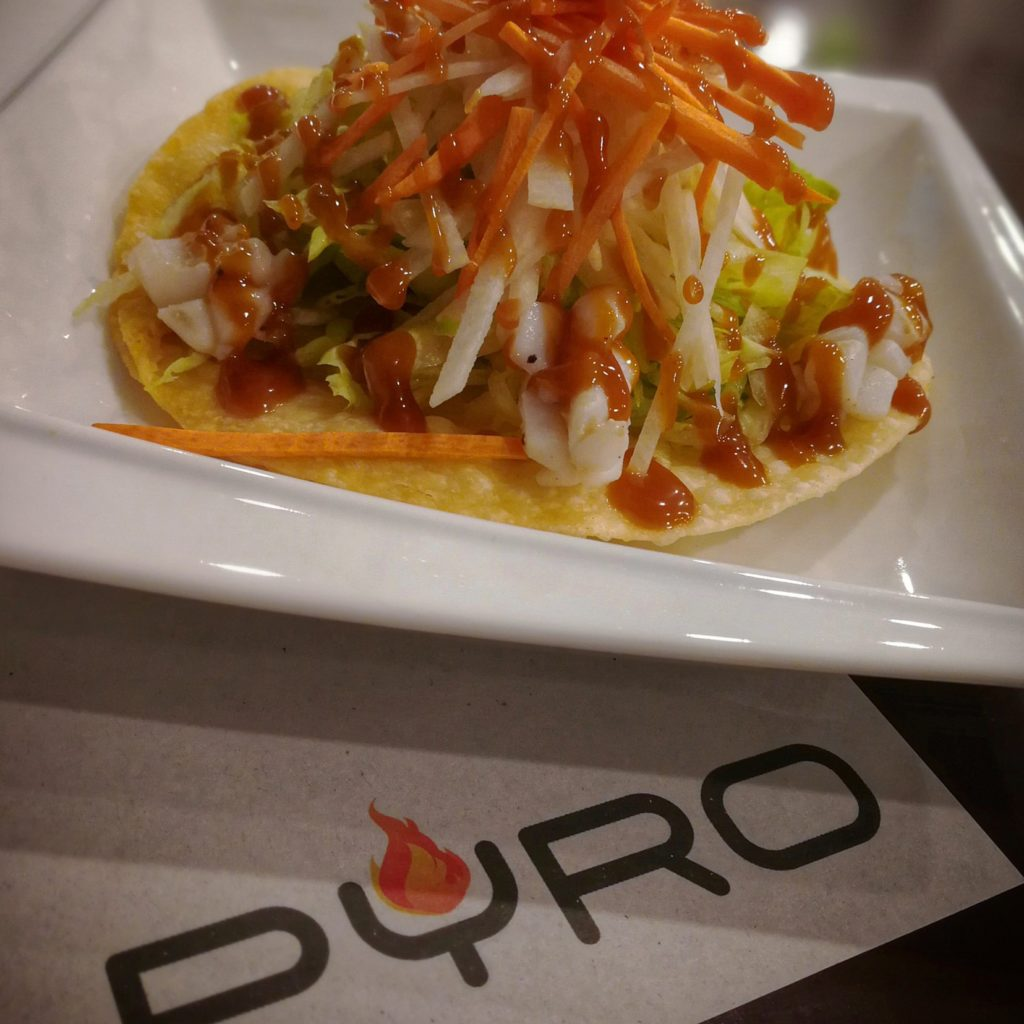 Thai Squid Salad Tostada by Pyro Davao - Squid Satay with Peanut Dressing